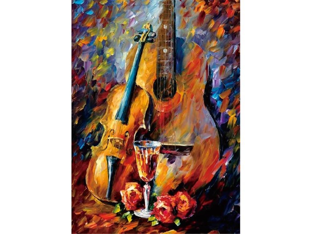 Алмазная мозаика ТМ Цветной Скрипка и гитара, 30x40 см алмазная вышивка скрипка и глобус 50x35см алмазная живопись