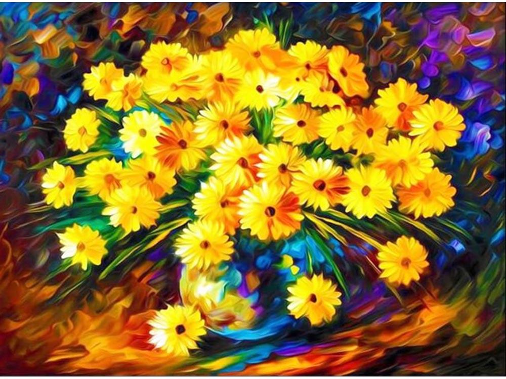 Алмазная мозаика ТМ Цветной Букет осенних хризантем, 40x50 см