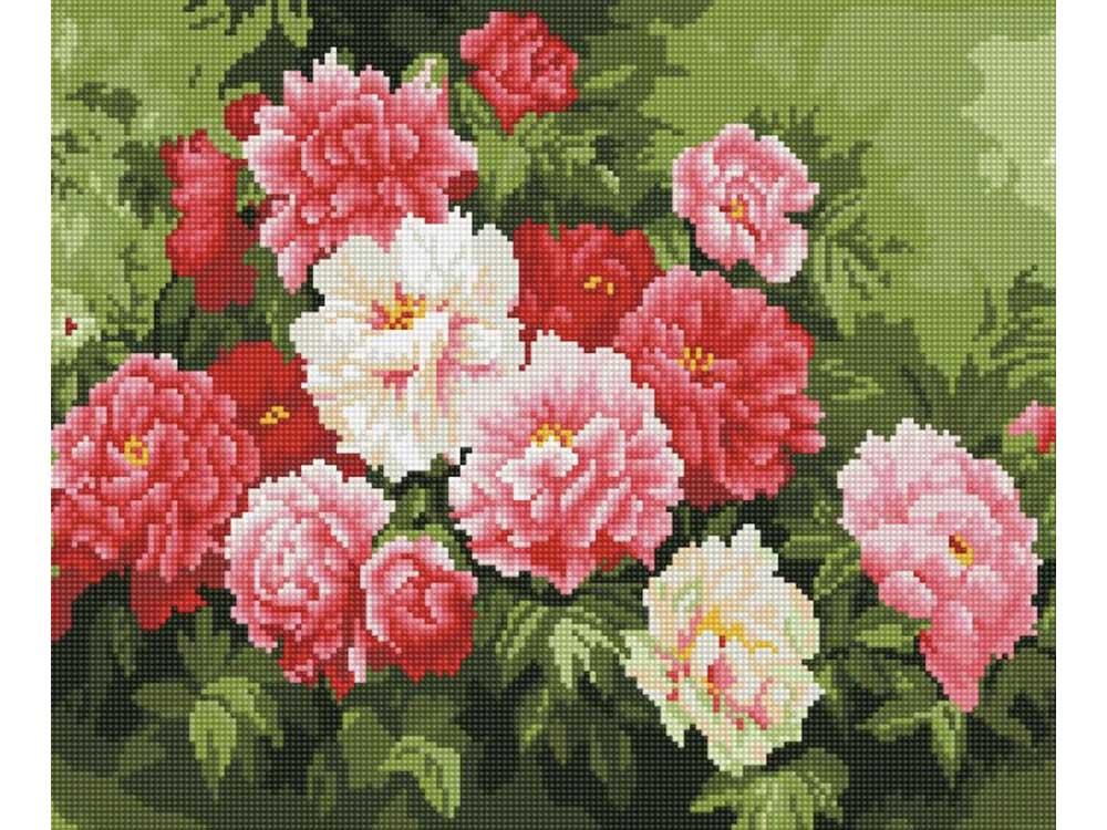 Алмазная мозаика ТМ Цветной Шикарный букет пионов, 40x50 см