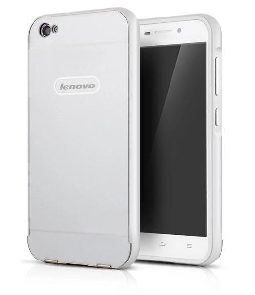 Чехол-бампер MyPads для Lenovo S60 c алюминиевым металлическим бампером и поликарбонатной накладкой серебристый