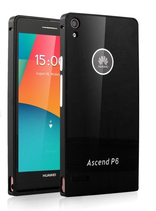 Чехол-бампер MyPads для Huawei Ascend P6 c алюминиевым металлическим бампером и поликарбонатной накладкой черный