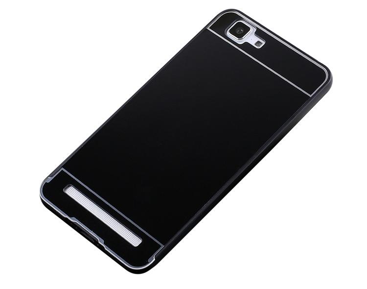 Чехол-бампер MyPads для Huawei P8 Lite c алюминиевым металлическим бампером и поликарбонатной накладкой черный