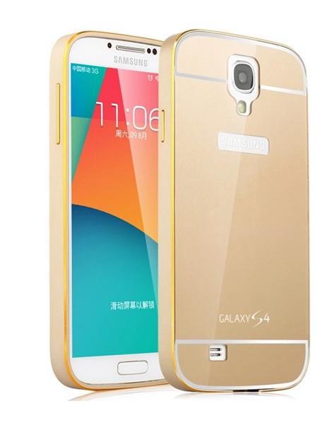 Чехол-бампер MyPads для Samsung Galaxy S4 GT-i9500 c алюминиевым металлическим бампером и поликарбонатной накладкой золотой