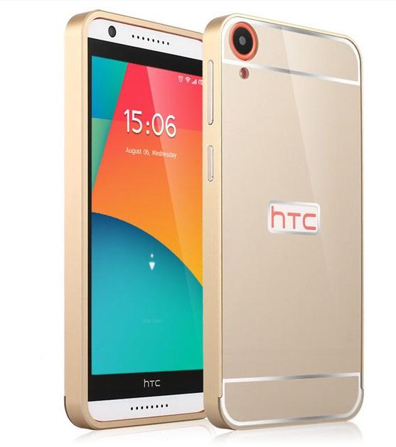 Чехол-бампер MyPads для HTC Desire 820 c алюминиевым металлическим бампером и поликарбонатной накладкой золотой