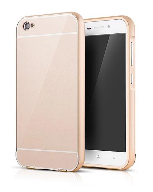 Чехол-бампер MyPads для HTC Desire 826 c алюминиевым металлическим бампером и поликарбонатной накладкой золотой