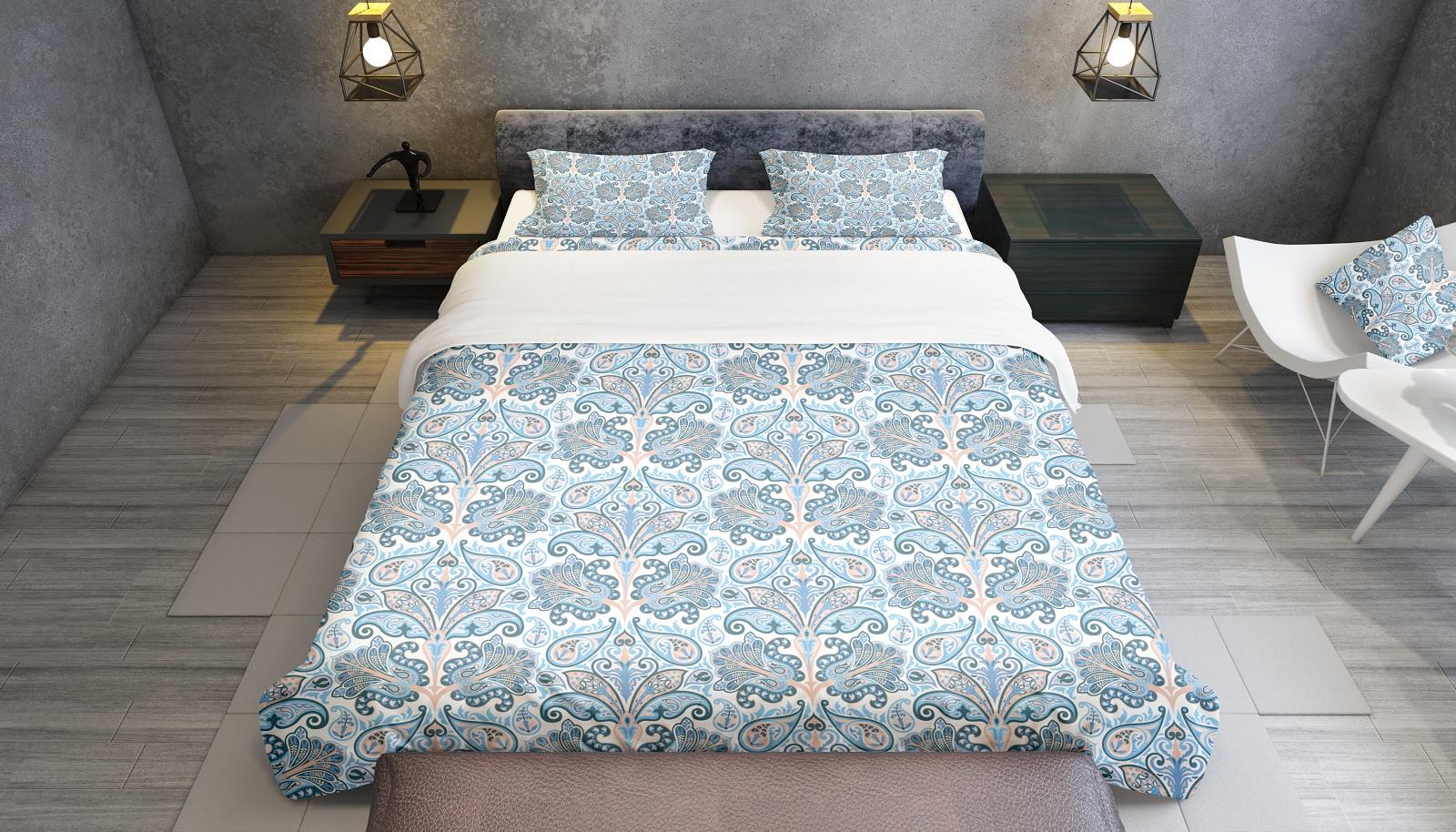 Комплект постельного белья Голубые цветы, семейный пододеяльник коллекция котик бязь 1 5 спальный 150х210 см