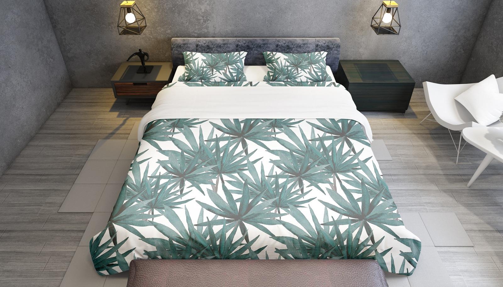 Комплект постельного белья Зеленые пальмовые листья, семейный пододеяльник коллекция котик бязь 1 5 спальный 150х210 см