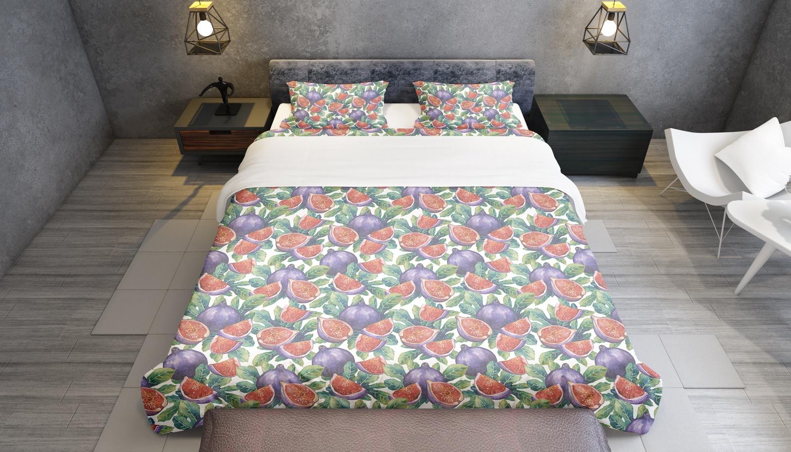 Комплект постельного белья Инжир, семейный пододеяльник коллекция котик бязь 1 5 спальный 150х210 см