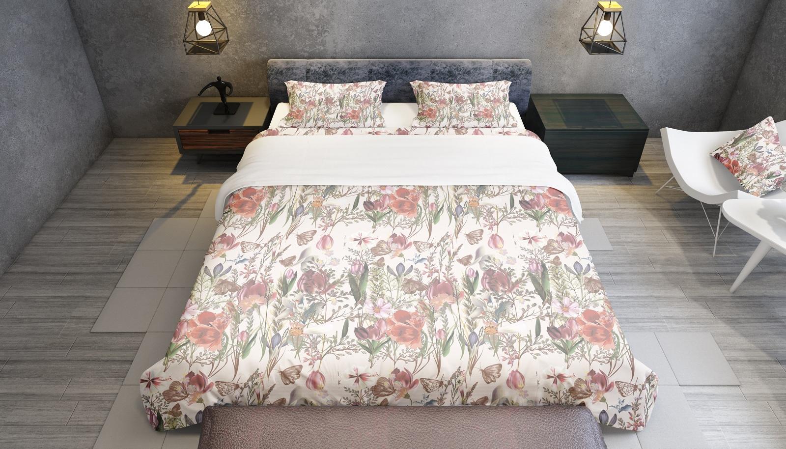 Комплект постельного белья Поле летом, семейный пододеяльник коллекция котик бязь 1 5 спальный 150х210 см