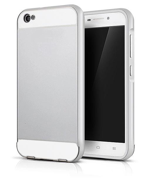 Чехол-бампер MyPads для Xiaomi MI3 c алюминиевым металлическим бампером и поликарбонатной накладкой серебристый