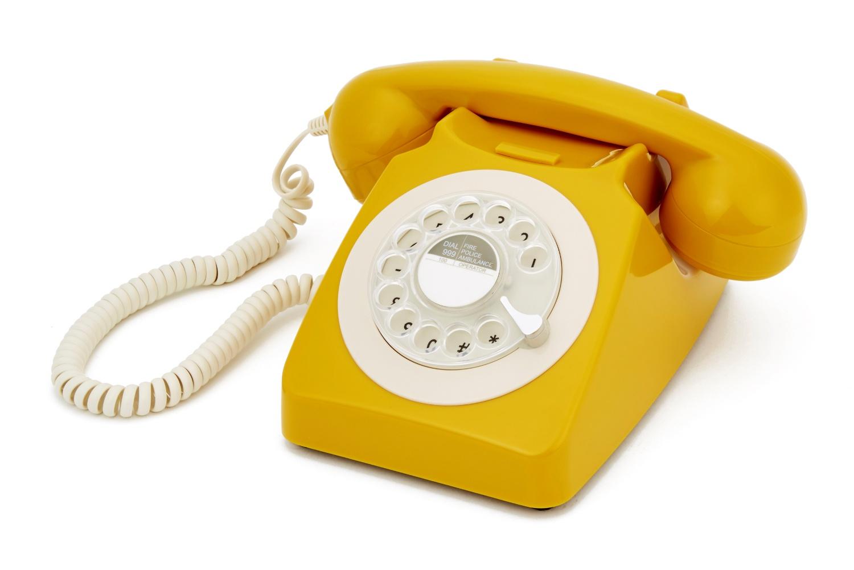 Дисковый ретро телефон GPO 746 ROTARY цвет горчица