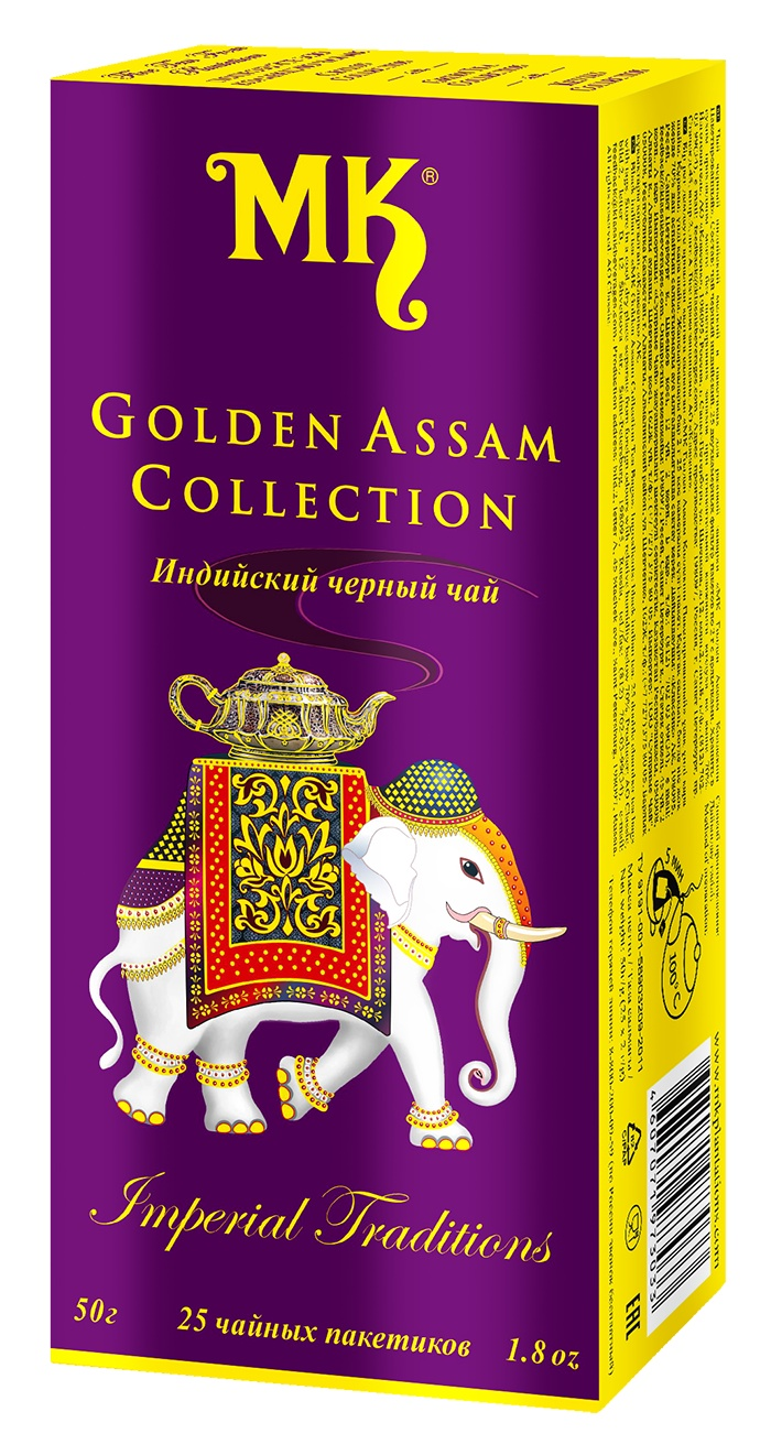ГОЛДЕН АССАМ КОЛЛЕКШН, чай чёрный индийский пакетированный двухкамерный с ярлычком 50 г касио коллекшн