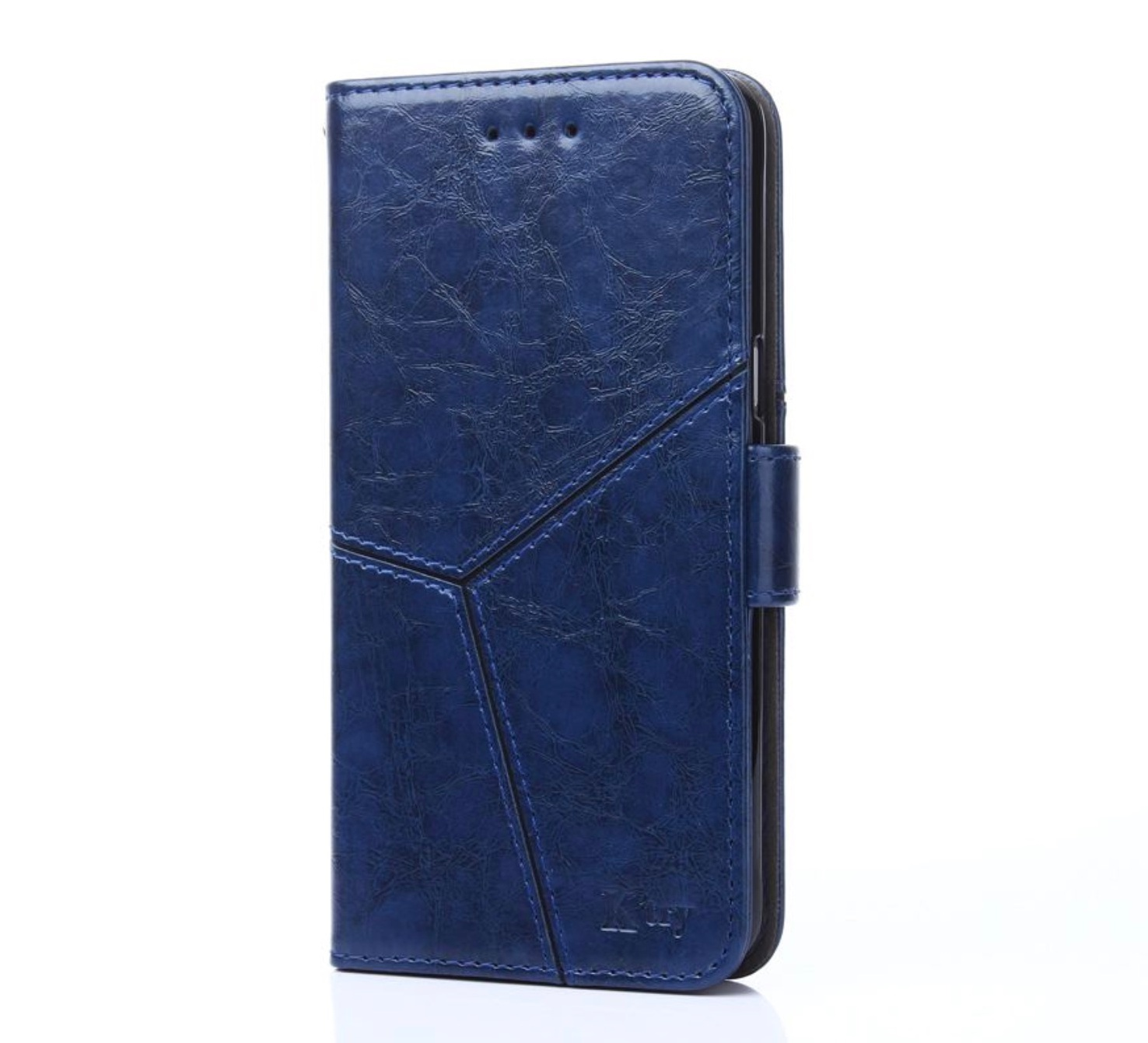 Чехол-книжка MyPads для Samsung Galaxy A7 (2017) SM-A720F прошитый по контуру с необычным геометрическим швом синий