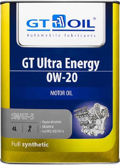 Масло моторное, синтетическое, всесезоннное GT Ultra Energy, SAE 0W-20, API SN/GF-5, 4 л