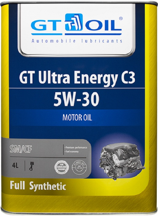Масло моторное, синтетическое всесезонное GT Ultra Energy C3, SAE 5W-30, API SM,SN/CF, 4 л