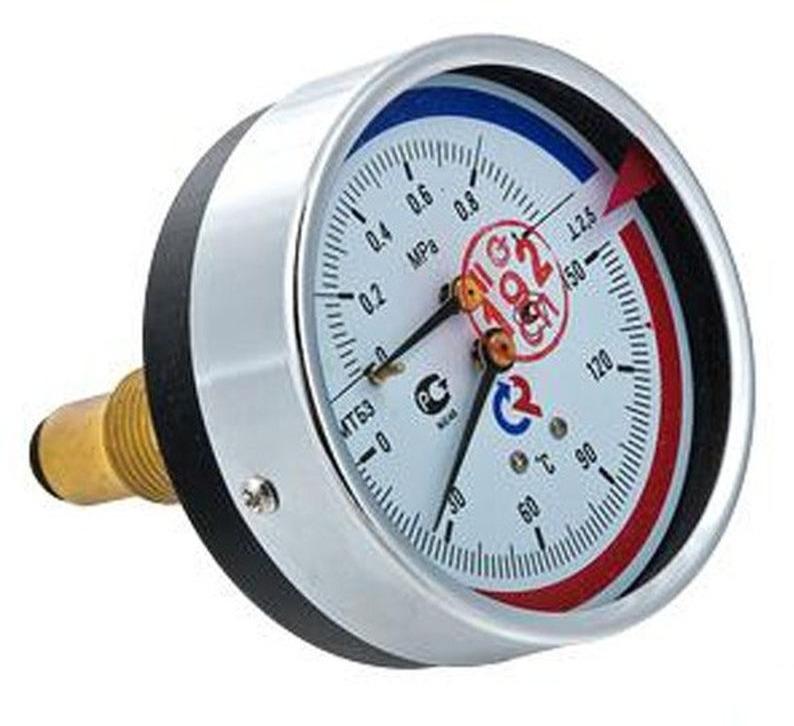 Термоманометр сантехнический Valtec ТМТБ-41Т Дy 100, с задним подключением 1/2, 10 бар 0-150*