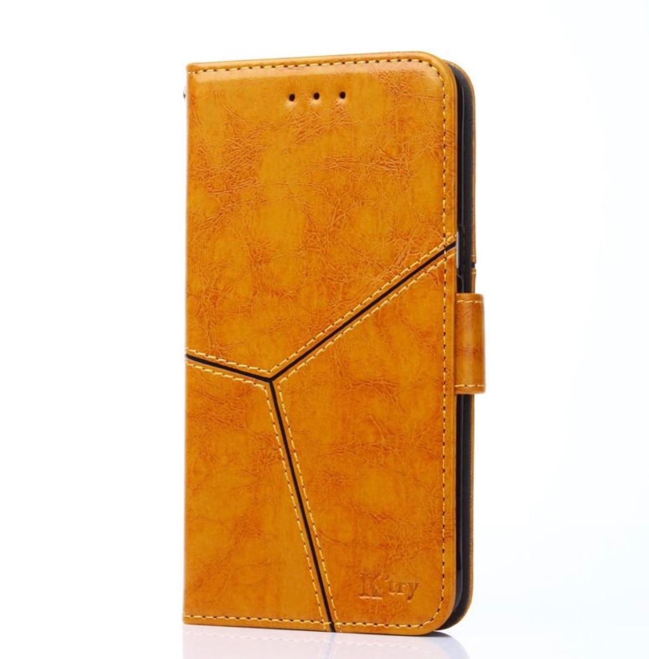 Чехол-книжка MyPads для Samsung Galaxy S10e прошитый по контуру с необычным геометрическим швом золотой желтый