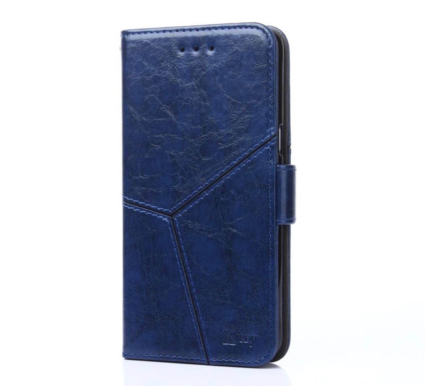 Чехол-книжка MyPads для Huawei Honor 8A/Huawei Y6 (2019)/ Honor 8A Pro/ Y6 Prime 2019 прошитый по контуру с необычным геометрическим швом синий