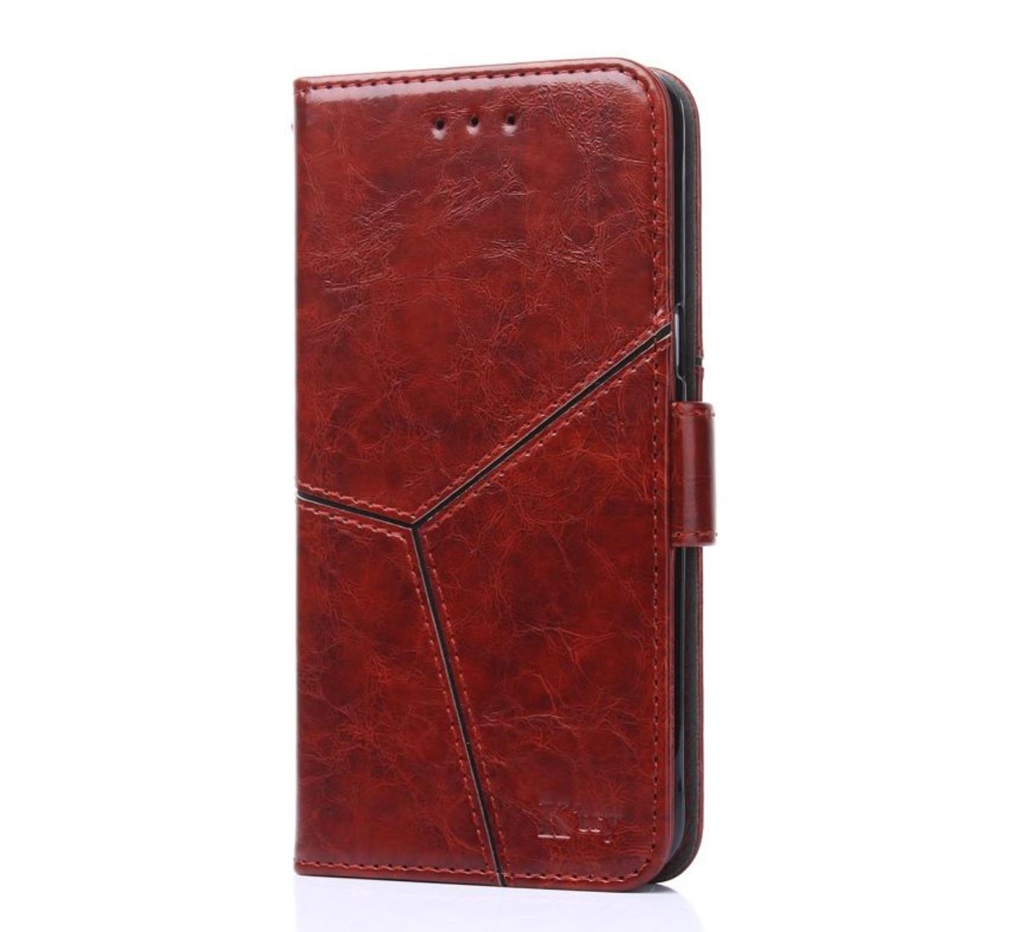 Чехол-книжка MyPads для Huawei Honor 8A прошитый по контуру с необычным геометрическим швом красный кирпичный
