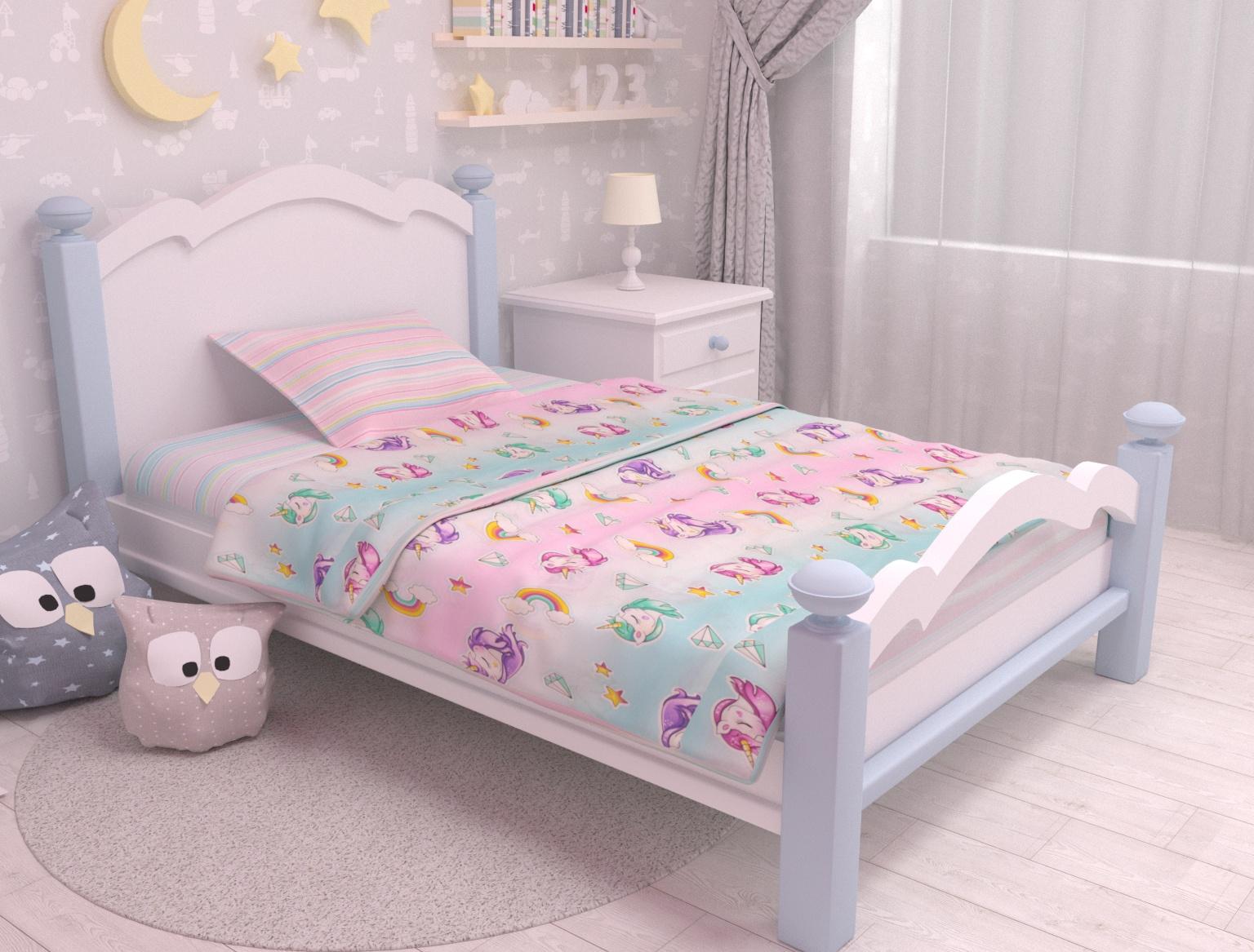 цена Постельное белье Зона сна голубой,розовый 164-KPB701,5B-ZS Полутороспальный онлайн в 2017 году