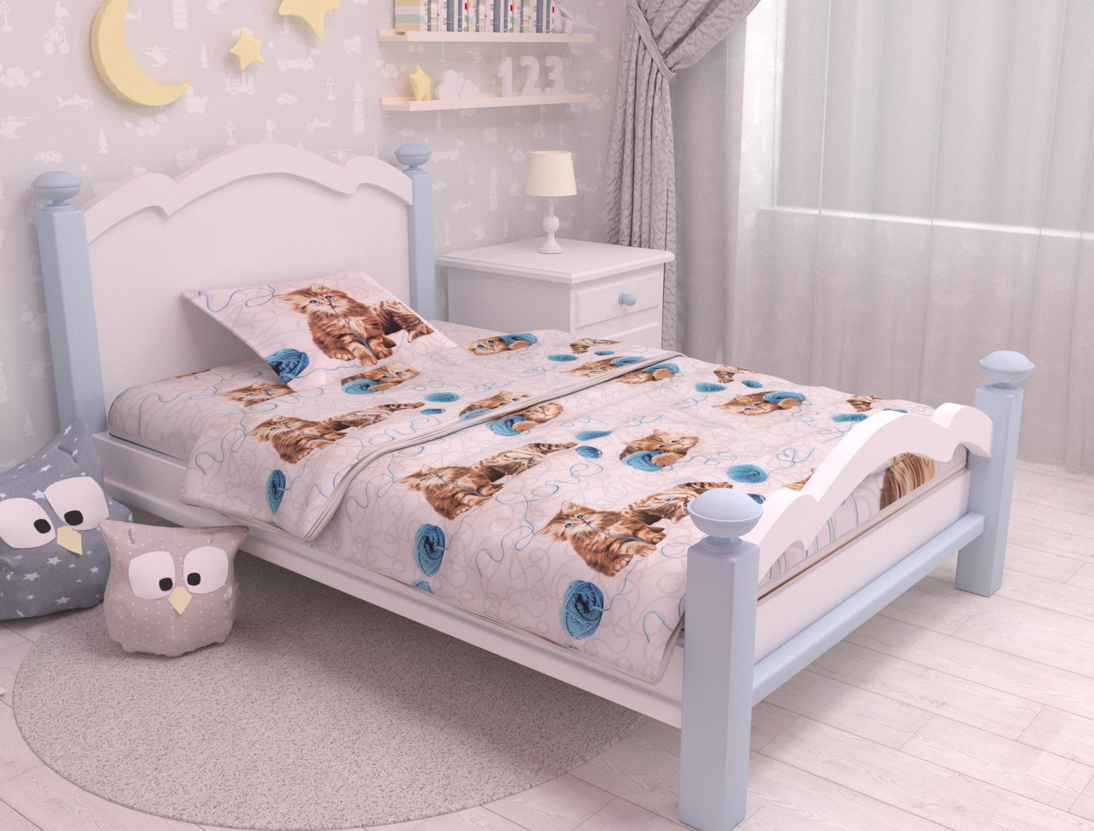 цена Постельное белье Зона сна белый,голубой 166-KPB701,5R-ZS Полутороспальный онлайн в 2017 году