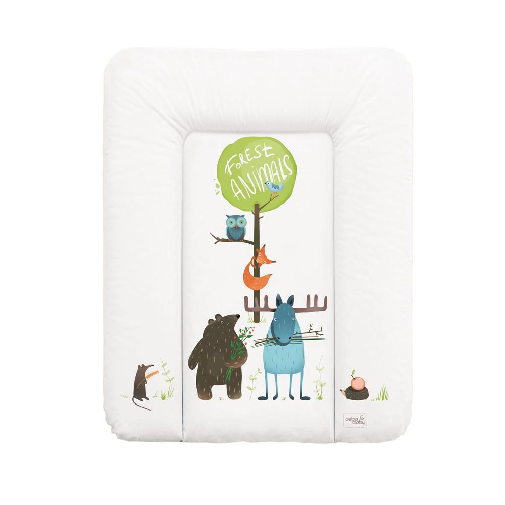 накладки для пеленания ceba baby накладка для пеленания с изголовьем 50х80 Матрац пеленальный Ceba Baby 70x50 см мягкий на комод Animals W-143-103-100