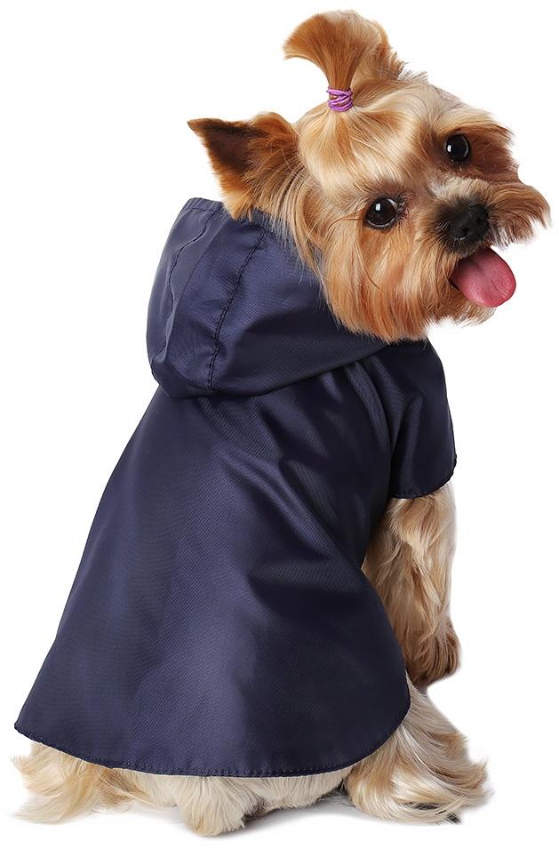 Дождевик для собак Монморанси Дождевик на подкладке, цвет: темно-синий, размер S дождевик прогулочный для собак glg цветок цвет темно синий размер l