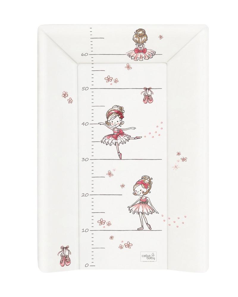 накладки для пеленания ceba baby накладка для пеленания с изголовьем 50х80 Матрац пеленальный Ceba Baby 70 см мягкий с изголовьем Prima Ballerina white W-103-090-101