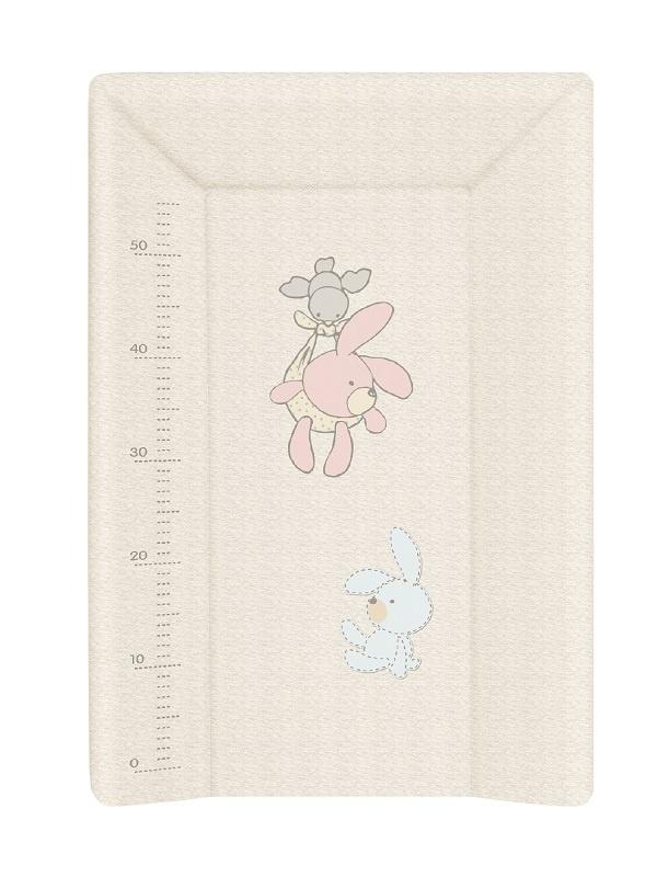 накладки для пеленания ceba baby накладка для пеленания с изголовьем 50х80 Матрац пеленальный Ceba Baby 70 см мягкий с изголовьем Bunnies grey W-103-068-260