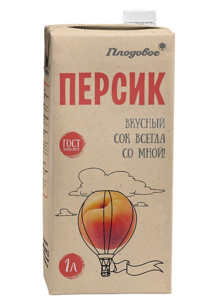 Сок персиковый восстановленный с мякотью 1 л. Плодовое