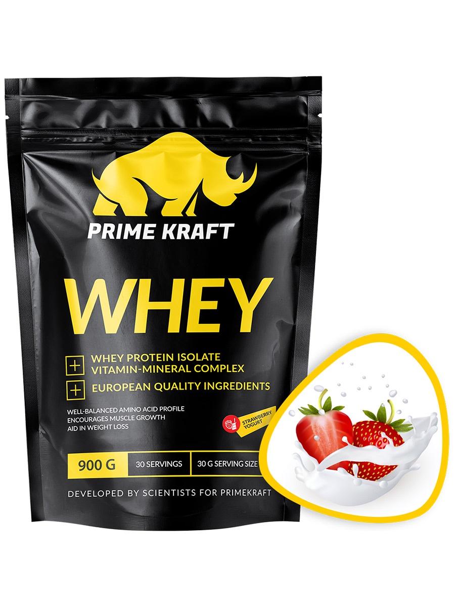 Специализированный пищевой продукт Prime Kraft Whey, клубничный йогурт, 900г