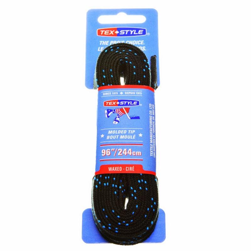 "Шнурки с пропиткой Texstyle Black Double Blue Line Waxed Molded Tip 96"" (244 см.), Черный"