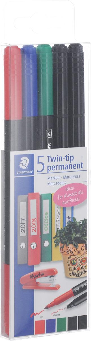 Набор перманентных фломастеров Staedtler Twin-Tip, 3187TB5, 5 цветов