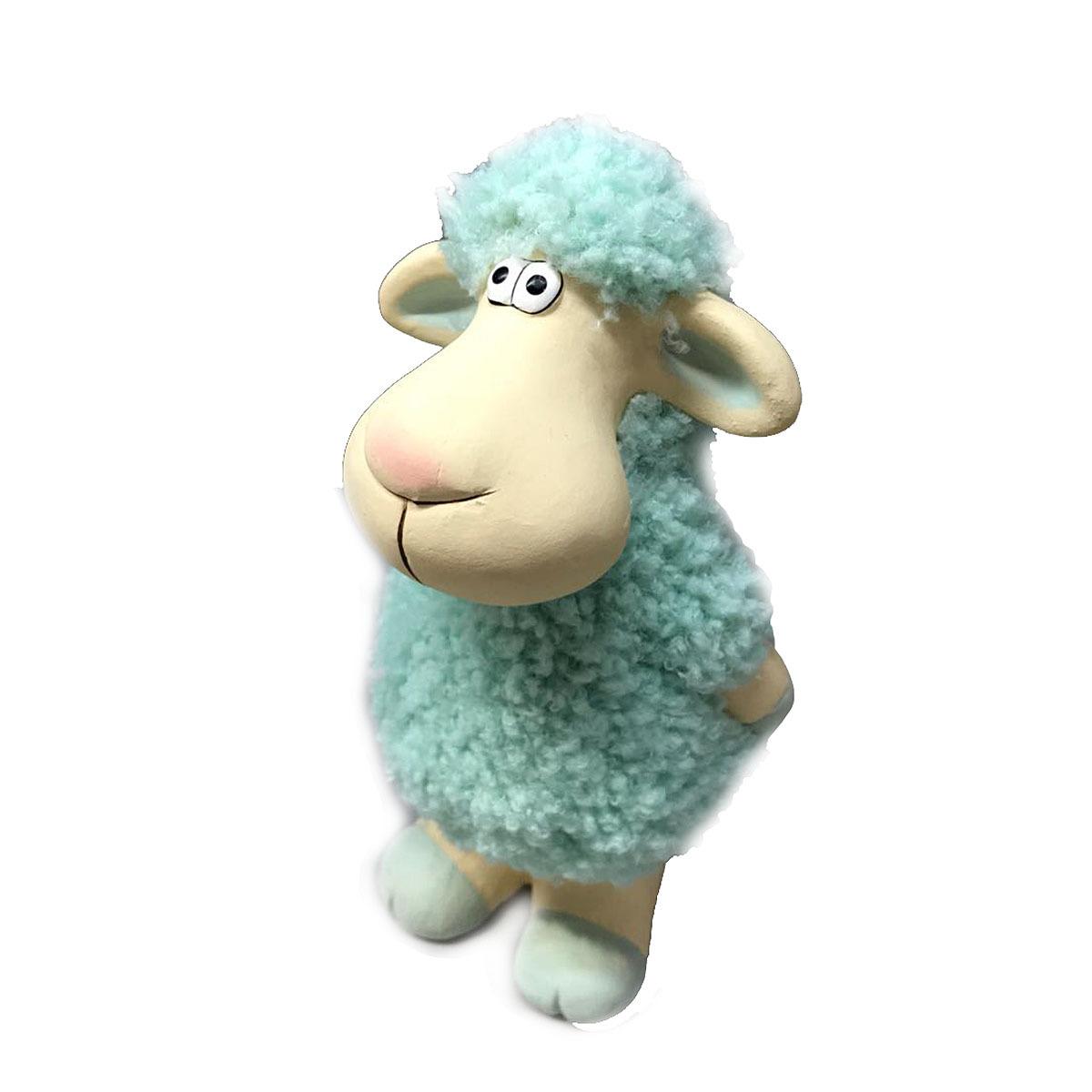 Фигурка декоративная Village People Задумчивая овечка, кремовый, голубой, 21,5 х 11 х 10 см цены онлайн