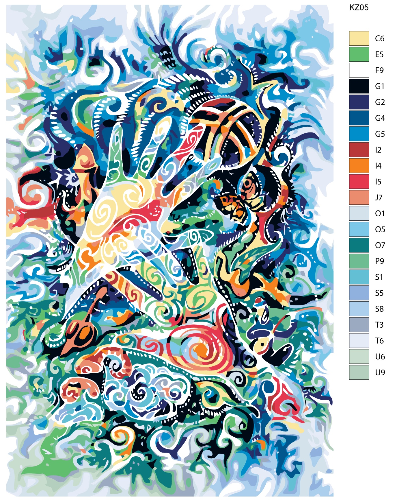 Картина по номерам, 80 x 120 см, KZ05 Живопись по номерам