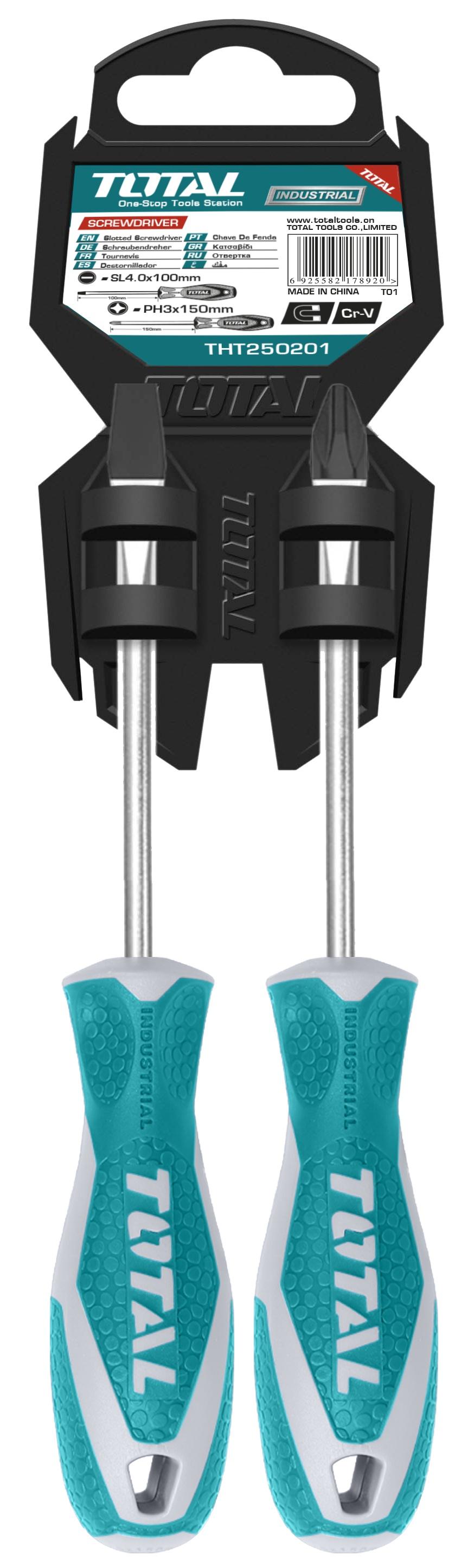 Набор отверток Total THT250201 шлицевая и крестовая 2 шт.