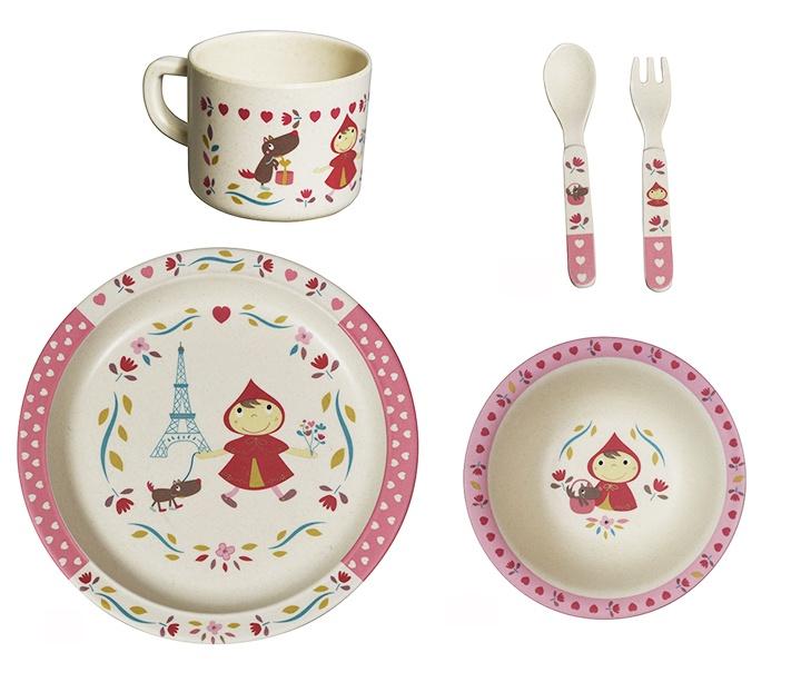 Набор бамбуковой посуды 5 предметов Красная шапочка