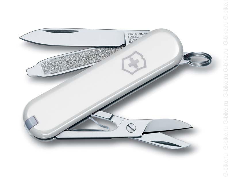 Нож-брелок Victorinox Classic SD, 58 мм, 7 функций, белый