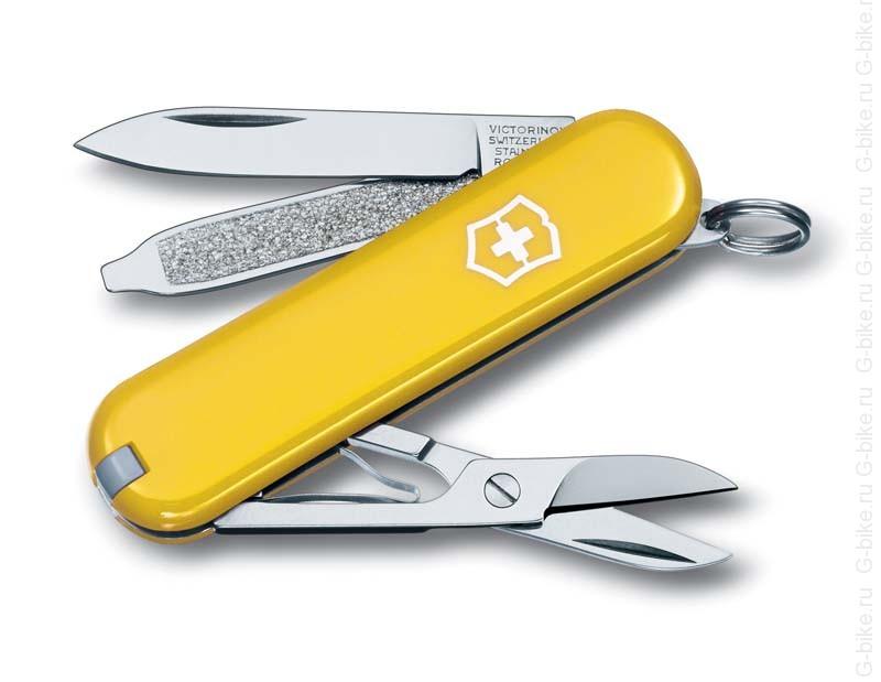 Нож-брелок Victorinox Classic SD, 58 мм, 7 функций, жёлтый все цены