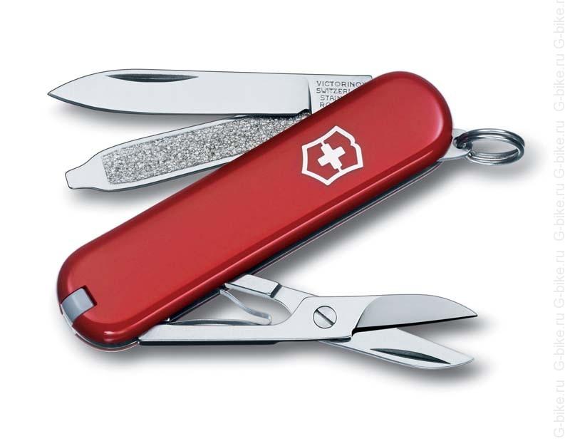 Нож-брелок Victorinox Classic SD, 58 мм, 7 функций, красный