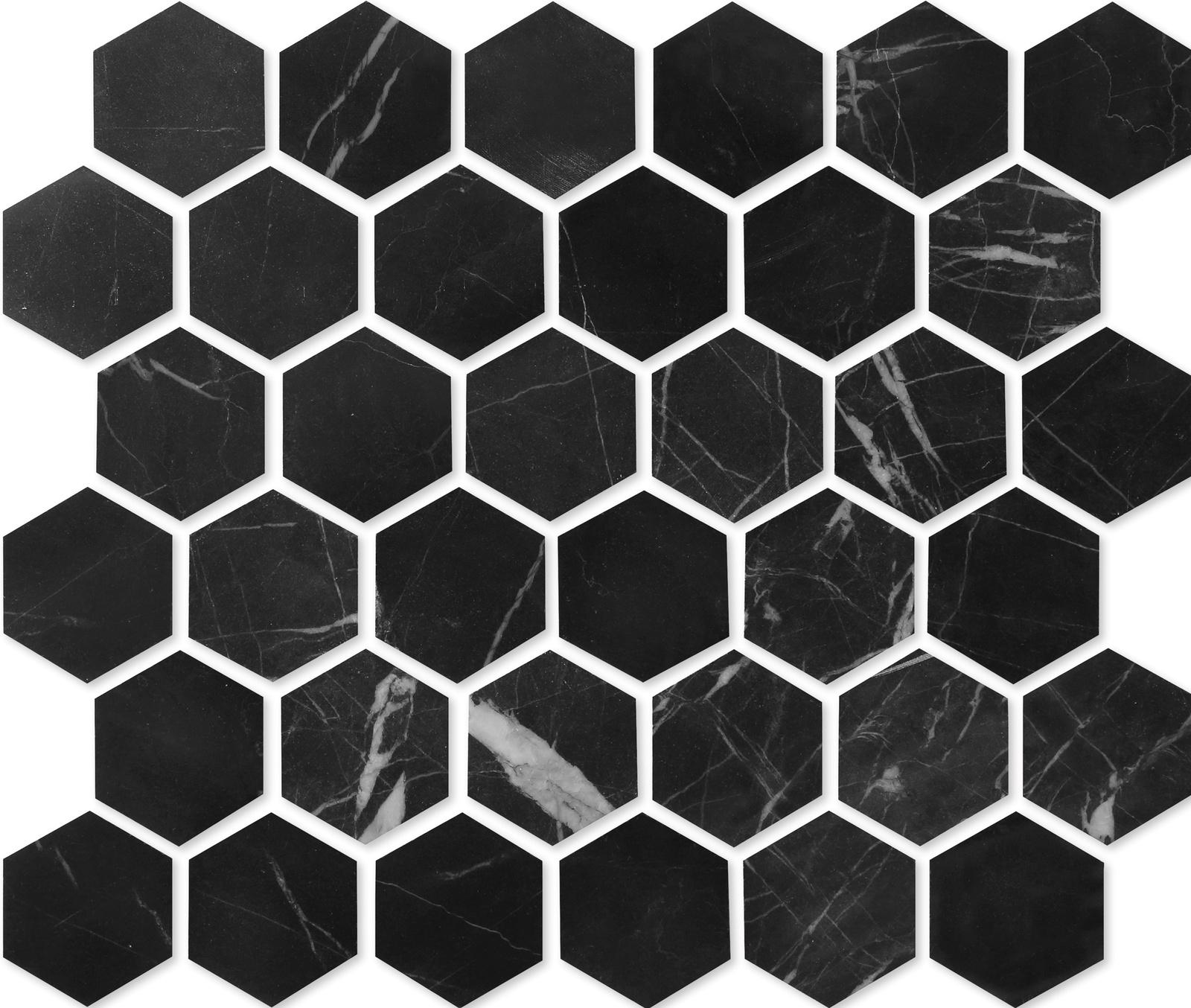 Мозаика из натурального камня Nero marquina HEXAGONE POL 48x48x7 настенная плитка atlas concorde marvel stone nero marquina 50x110