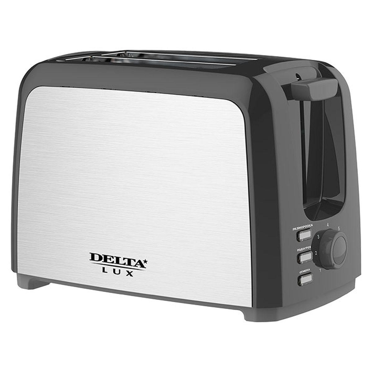 Тостер Delta Lux DL-090, 0R-00006685, черный, серый металлик - Техника для приготовления блюд