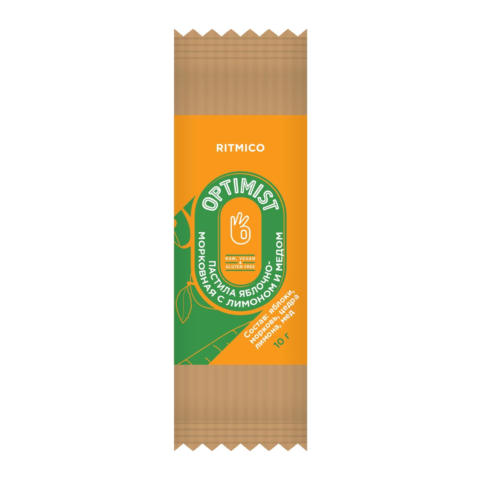 Пастила яблочно-морковная с лимоном и медом натуральная Optimist, 10 г