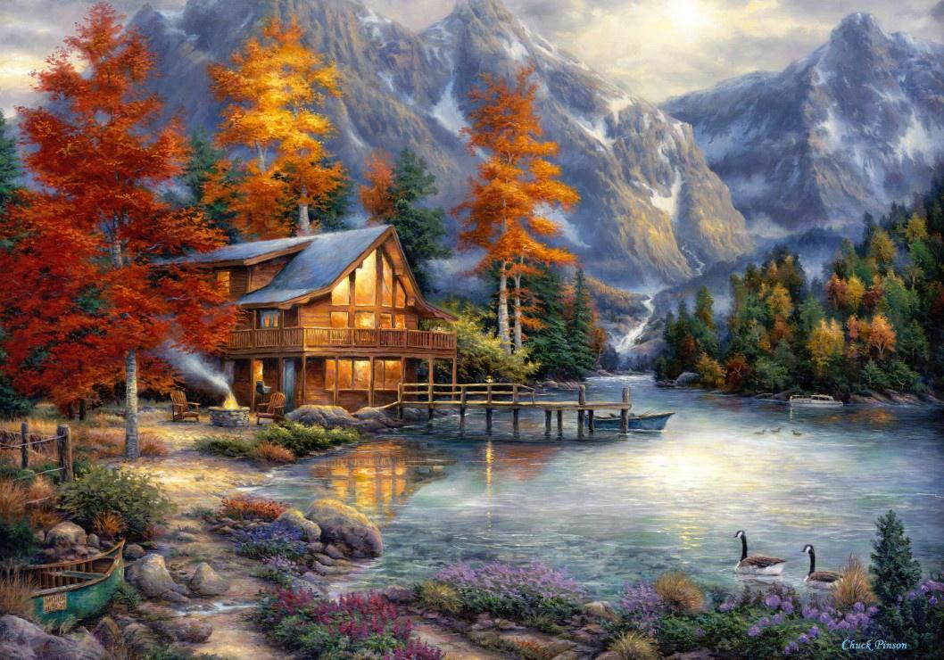 """Картина по номерам """"Осенний домик в горах"""", 40х50см"""