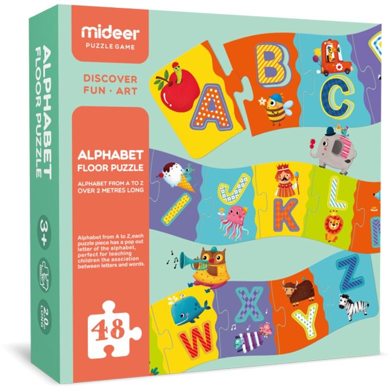 Пазл напольный Mideer макси раскраска английский алфавит