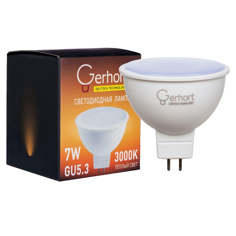 Лампочка Gerhort 7W JCDR LED 3000K GU5.3, Теплый свет 7 Вт, Светодиодная