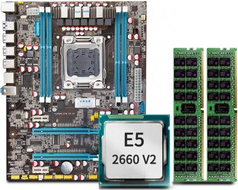 Материнская плата HUANANZHI X79 (LGA 2011 Intel X79) + Xeon E5 2660-V2 + DDr3 32GB ECC (V2.47) v2