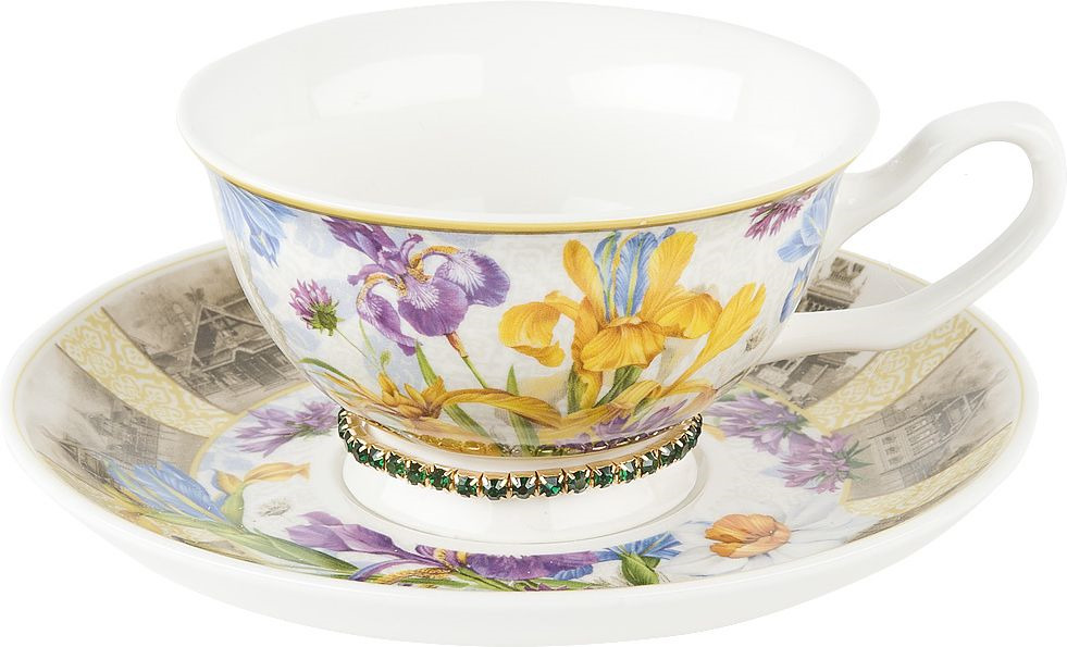 Чайная пара Nouvelle Ирис Изумруд, 0661138-2, разноцветный, 180 мл чайная пара nouvelle ирис кристалл 180 мл