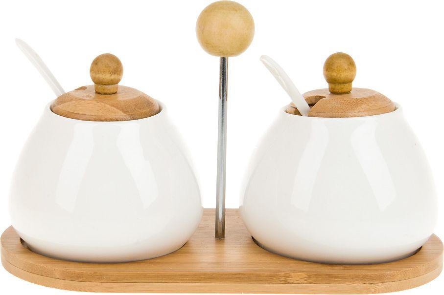 Набор сахарниц с ложками BHP Naturel, на подставке, 2630144, белый, 2 шт по 300 мл чайный набор 2пр альпийский сад v 450мл фарфор подарочная упаковка