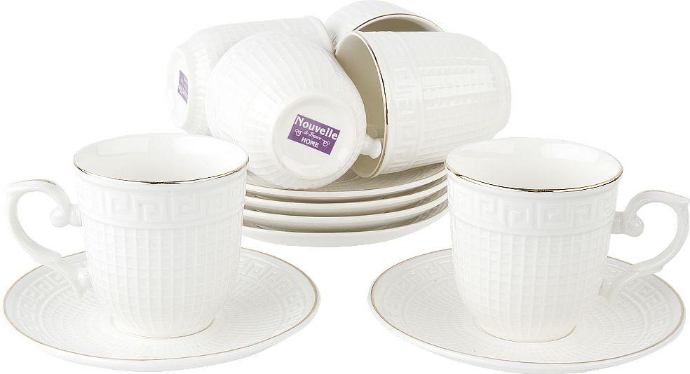 Набор кофейный Nouvelle Паллада, 2930068, белый, 12 предметов чайный набор 2пр olympia v 220мл золотая обводка фарфор подарочная упаковка